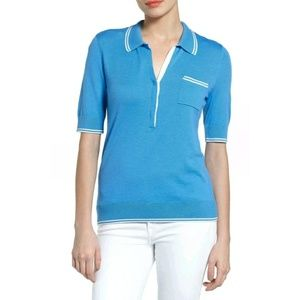 HALOGEN tipped polo preppy sweater blue shirt top